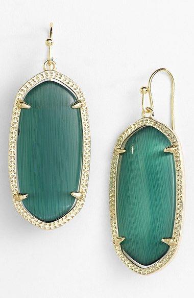 Kendra Scott 'Elle' Drop Earrings   Nordstrom Color: Emerald Cats Eye