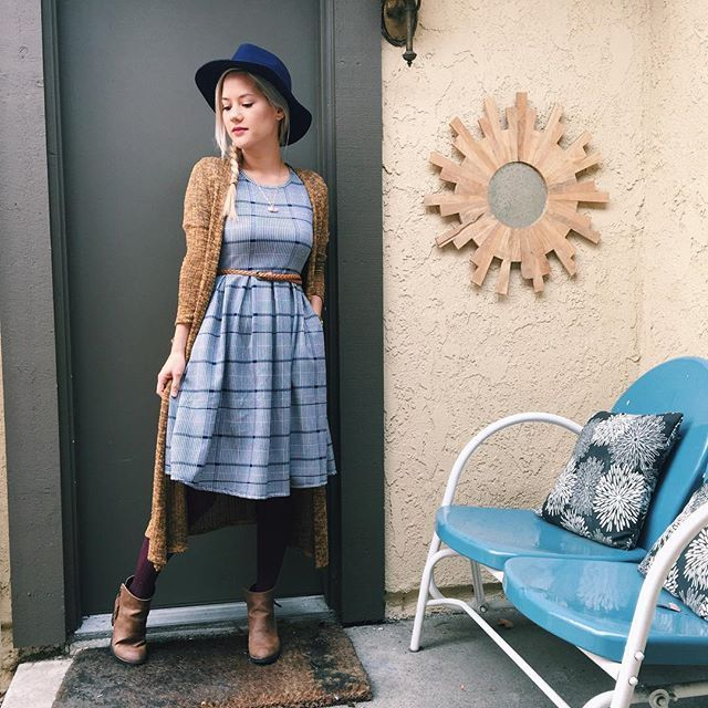 Amelia Dress, Sarah Cardigan...add booties, tights, a belt and hat and you are good to go! Get yours at http://www.facebook.com/groups/lularoejennking