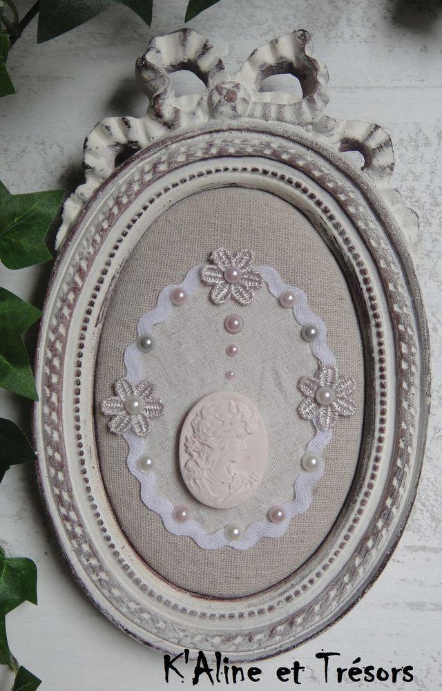Cadre ovale à nœud, peinture à l'ancienne blanche et patine gris fumé / ENVOI OFFERT : Décorations murales par kaline-et-tresors