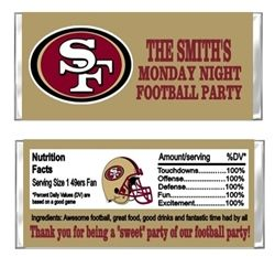 San Fransisco 49ers Football Hershey Candy Bar Wrappers Party Favors - Great to use as SuperBowl Super Bowl party favors, at children's birthday parties, Football Themed Weddings or Baby Showers, or your weekly Sunday, Monday, or Thursday Night Football Party.