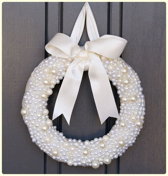 THE PREPPY PEARL Wreath as seen on Hostess with the Mostess.  Wedding.  Winter white.  Elegant. Christening. Baptism. Pearls. Classic style.... by Sweet Georgia Sweet @Bethany {Sweet Georgia Sweet}