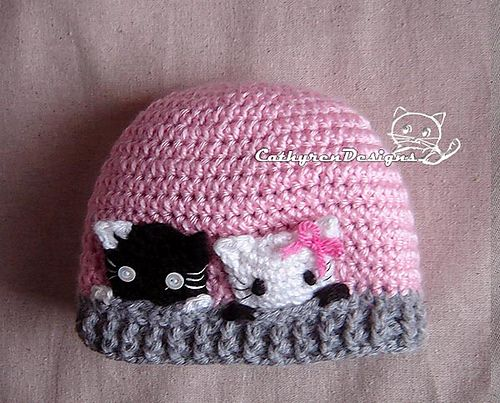 Beanie with Curious Kitties, Size New Born - Teen pattern by Cathy Ren