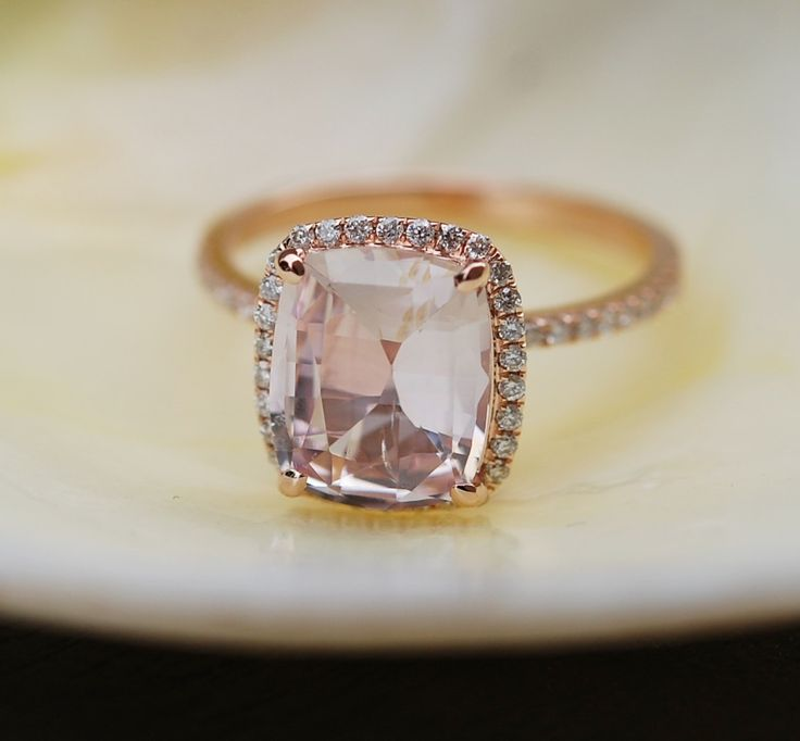 »Ice Peach Champagne #Sapphire #Ring 14k Rose #Gold #Diamond #Engagement Ring…