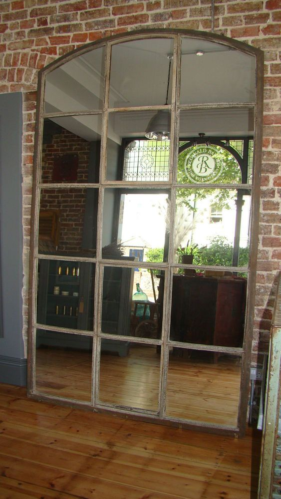 Large industrial iron window frame mirror industrial for Mirror 84 x 36