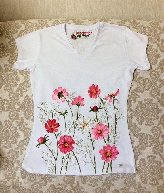 1b52f61669 Hand painted t-shirt Women s Tees female T-shirt hand made hand-painted  clothing pink Cosmos flower chamomile V-neck shirt