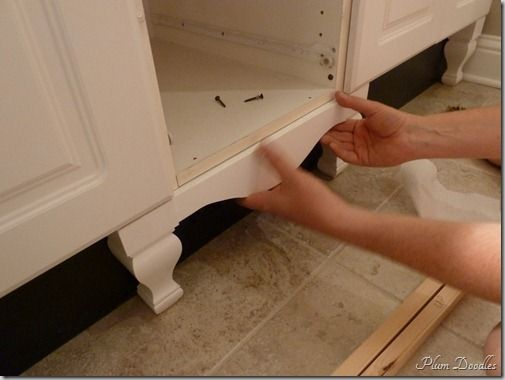 How to add legs and a skirt to cabinets!: Standards Cabinets, Idea, Add Legs, Bathroom Vanities, Furniture Style, Builder Grade, Master Bath, Kitchens Cabinets, Bathroom Cabinets