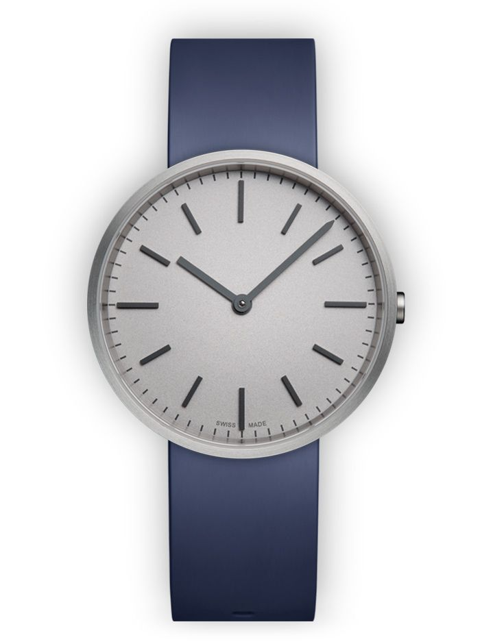 UNIFORM WARES M37 Two-hand Watch in Brushed Steel with Blue Nitrile Rubber Strap - Official UNIFORM WARES Watches