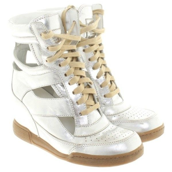 Pre-owned Sneaker in silver (74.580 CRC) ❤ liked on Polyvore featuring shoes, sneakers, silvery, lace up sneakers, marc jacobs shoes, lace up wedge sneakers, wedge sneakers and marc jacobs sneakers