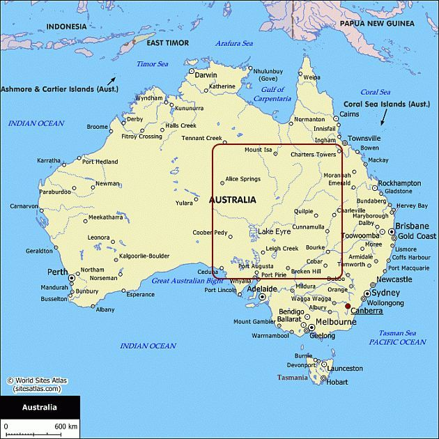 this is a map of australia showing all major towns and cities description from ne