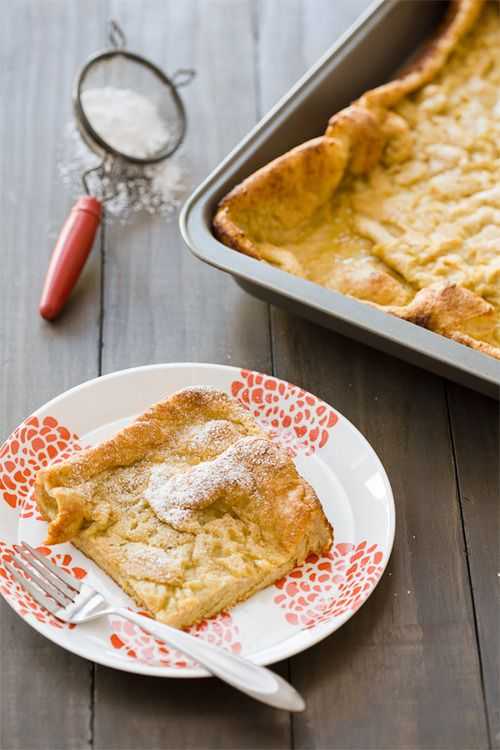 Pumpkin Spice German Pancake Ingredients: 1 cup whole milk 1 cup all-purpose flour 6 large eggs 1/3 cup pumpkin puree 1/2 teaspoon ground cinnamon 1/8 teaspoon ground ginger 1/4 teaspoon salt 6 tablespoons unsalted butter Find the recipe here.