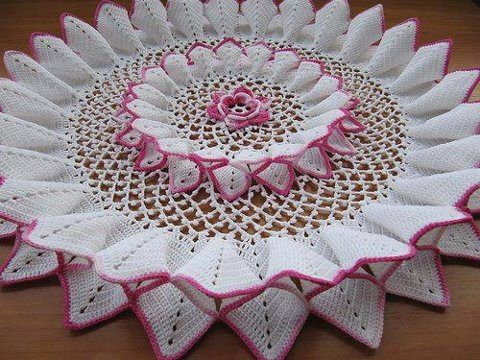 white towel and pink crochet. The pattern says Advanced for level of difficulty.  To which I respond, No S1it! lol.  Stunning, but pinned just cuz I could..lol.