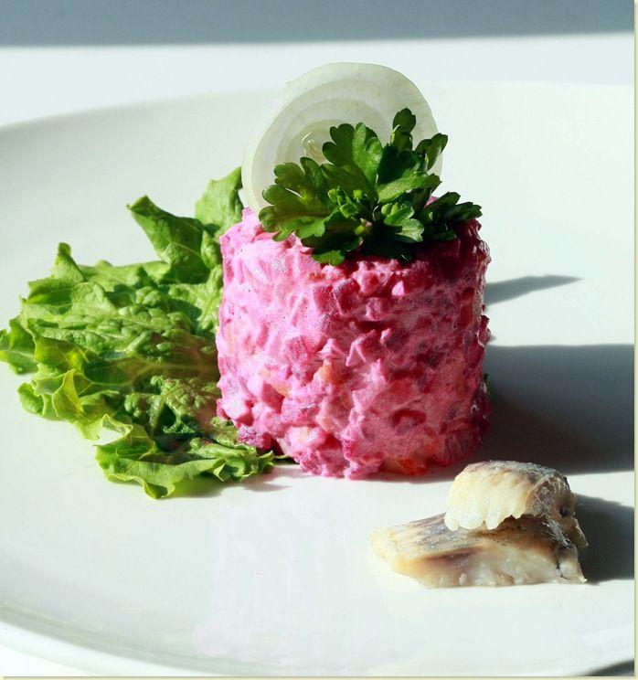 "A simplified version of the popular Russian Salad ""Шуба"" (pronounced 'shoo'-'buh')."