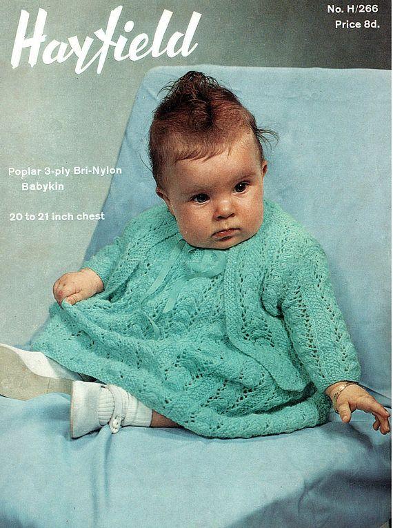 PDF Vintage 1950s Baby Girl Dress Knitting Pattern Angel