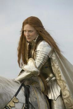 """Elizabeth I (Cate Blanchett) in """"Elizabeth: The Golden Age"""". The armored costume was designed for the young queen's famous Tilberry Address prior to the English navy's engagement with the Spanish Armada. While not historically accurate, it is nevertheless a striking set of armor."""