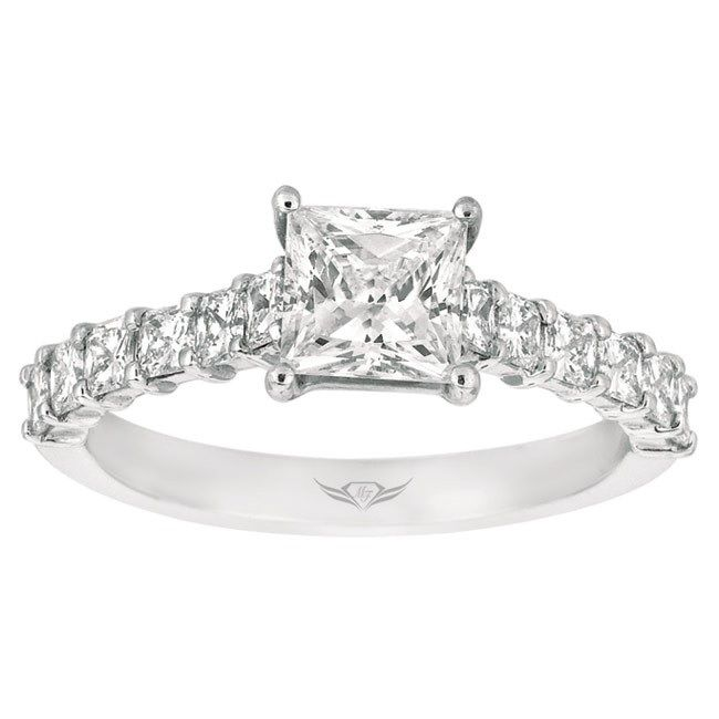 Flyer Fit By Martin Classic Platinum Shared Prong Princess Cut Diamond Engagement Ring