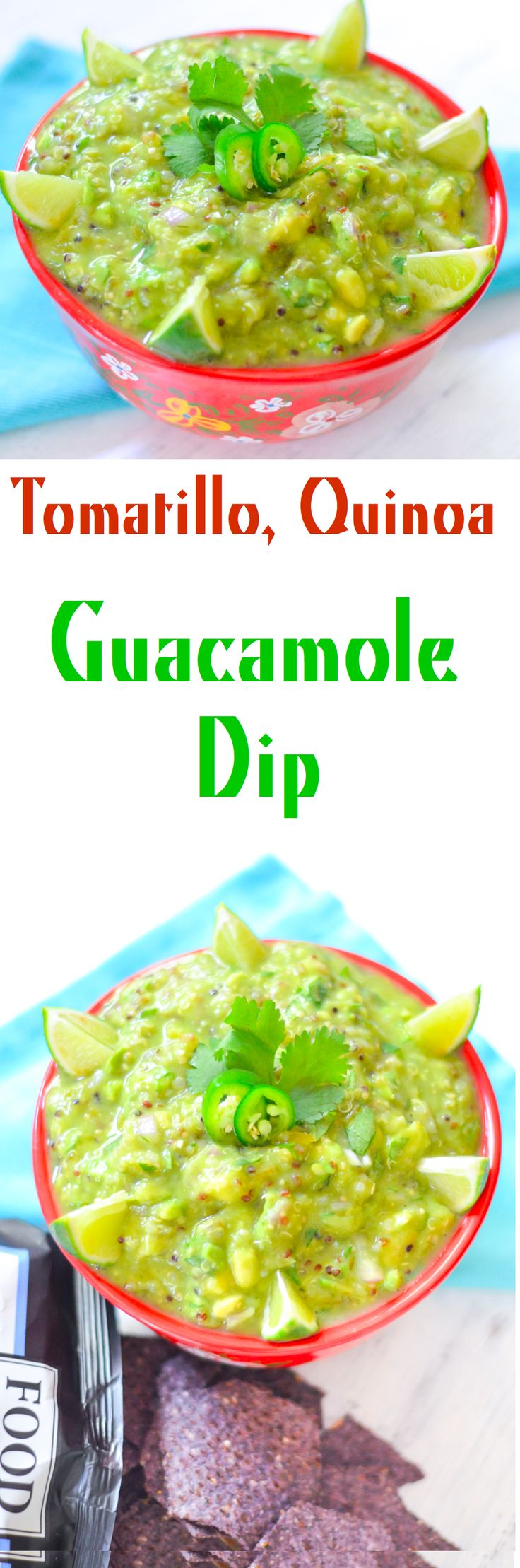 Tomatillo Avocado Sals Recipe. This roasted tomatillo, Quinoa Guacamole is a great Healthy, Vegan Cinco de Mayo Recipe. Protein-packed and low fat compared with traditional guacamole.