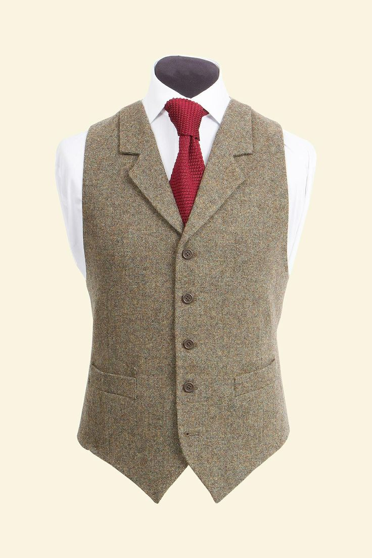 Moss Shetland Donegal Tweed Edward Waistcoat - Tweed Suit Waistcoats - Clothing - Mens Walker Slater Tweed Specialists