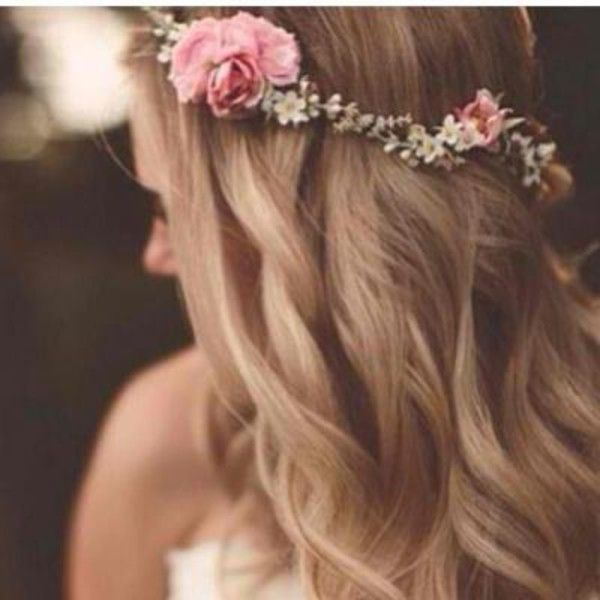 wedding flower crown brown hair - Google Search
