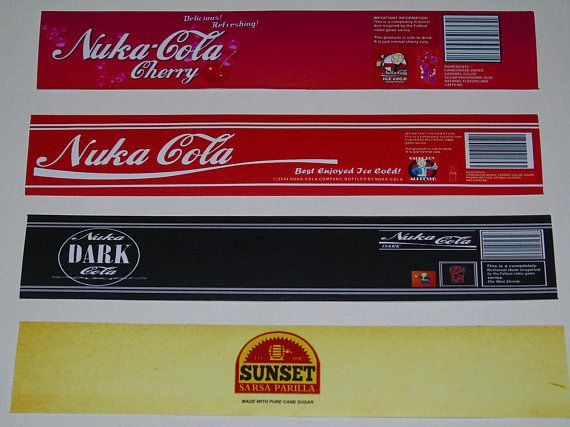 For Sale are 8 Fan Made Nuka Cola Stickers / labels, in 8 different designs inspired from the Fallout Video Game Series.  Plus 8 Caps  Dimensions : 20cm wide, 3.5cm high.  They are very strong and high quality waterproof vinyl and will not fade in the sunlight like paper stickers do.  They are adhesive and come with a peel off paper backing  The stickers & Caps included in this pack are Nuka Cola Cherry, Nuka Cola, Nuka Cola Dark, Sunset Sarsaparilla, Nuka Cola Victory, Nuka Cola Qua...