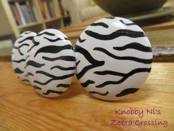 Zebra Print Hand Painted Drawer Knob   Dresser Pull   Nail Cover   Animal Print