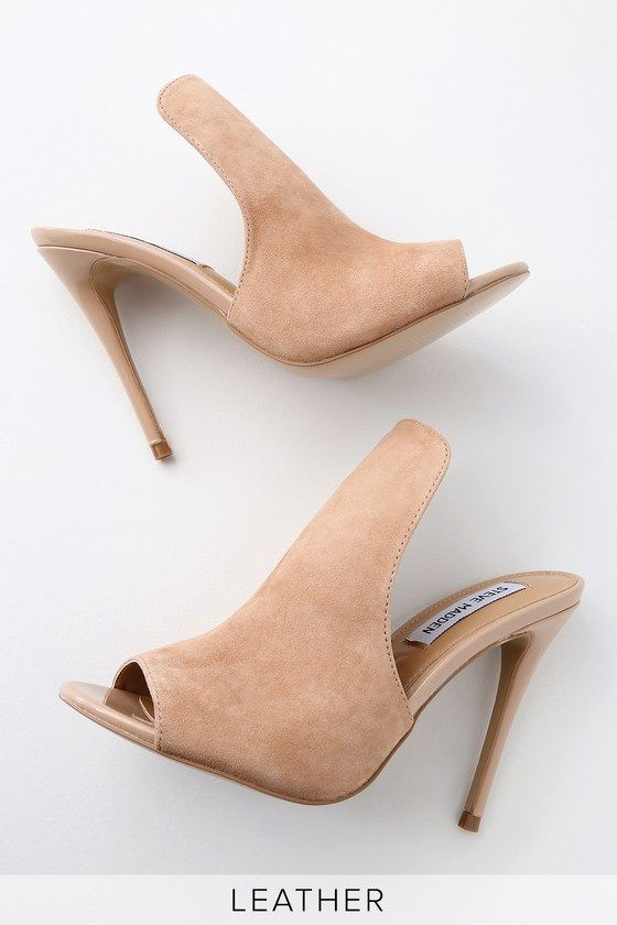 684e6df16e1 Sinful Nude Suede Leather Peep-Toe Mules | Clothes | Peep toe mules ...