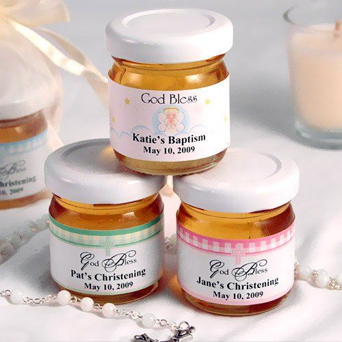 Personalized Christening and Baptism Honey Jar Favors by Beau-coup