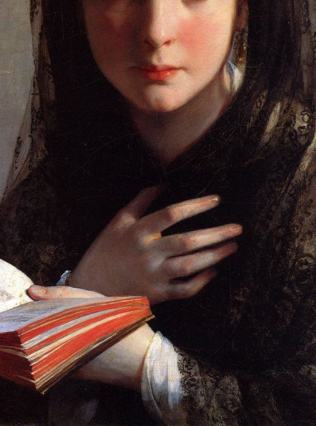 Absorbée dans ses pensées, Absorbed in her Thoughts(detail) - Friedrich von Amerling 1837: