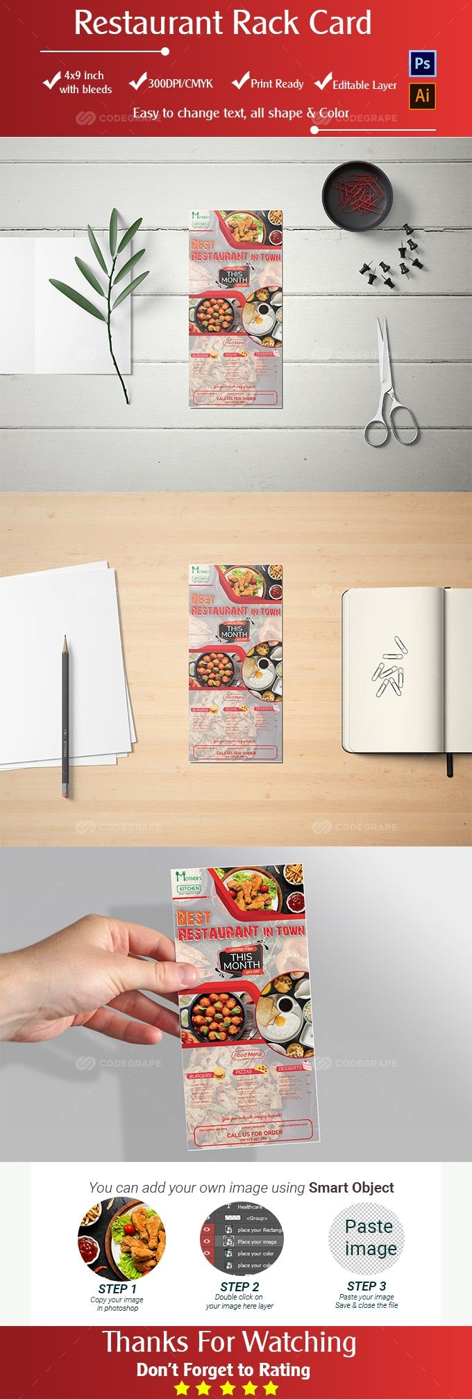 Restaurant Rack Card Template Rack Card Templates Rack Card Card Template