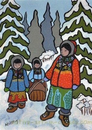 In a snit is a painting by the Ojibwa artist Nokomis - avaiable as a print or note card at Native Art in Canada.
