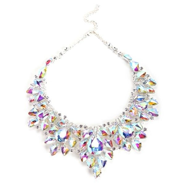 Silver Iridescent Statement Necklace (39 CAD) ❤ liked on Polyvore featuring jewelry, necklaces, statement necklace, bib statement necklace, silver necklace, silver jewellery and iridescent jewelry