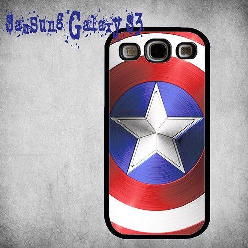 Captain America Shield Print On Hard Plastic Samsung Galaxy S3, Black Case