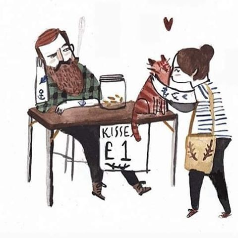 Work by @dickvincent  #dickvincent #illustration #kisses #cats #love