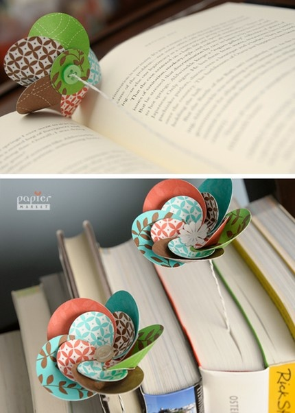 paper flower bookmark - i love bookmarks