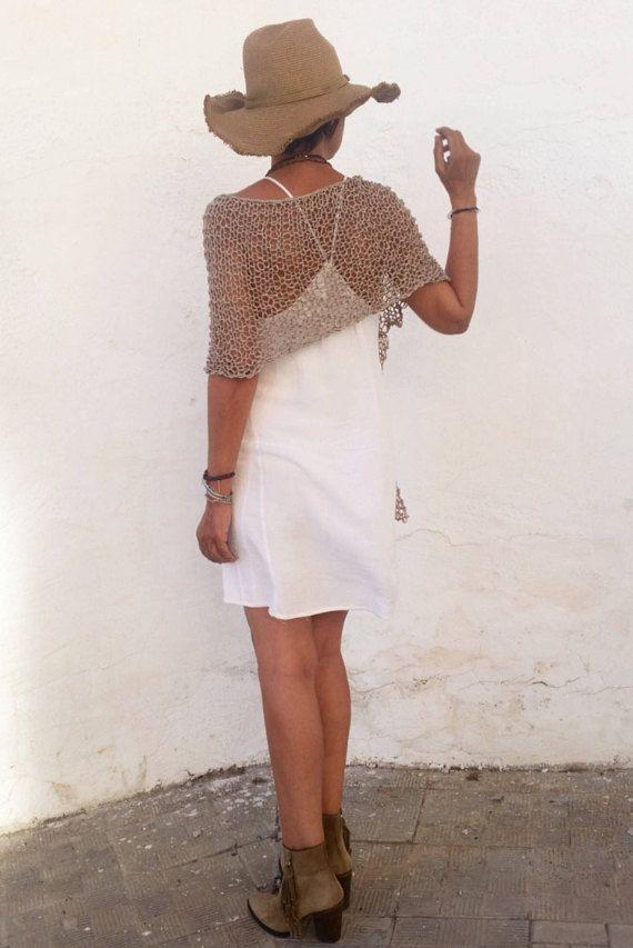 Poncho de verano de punto ponchos tejidos para mujer tejido