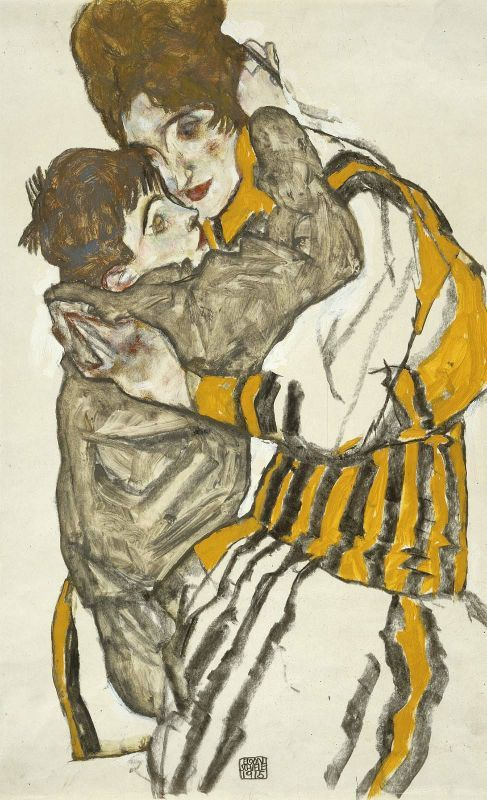 egonschiele:Egon Schiele, Austrian, 1890 - 1918:Schiele's Wife with her Little Nephew, 1915, Charcoal and opaque and transparent watercolor on paper, Museum of Fine Arts, Boston. Edwin E. Jack Fund, Photograph © Museum of Fine Arts, Boston