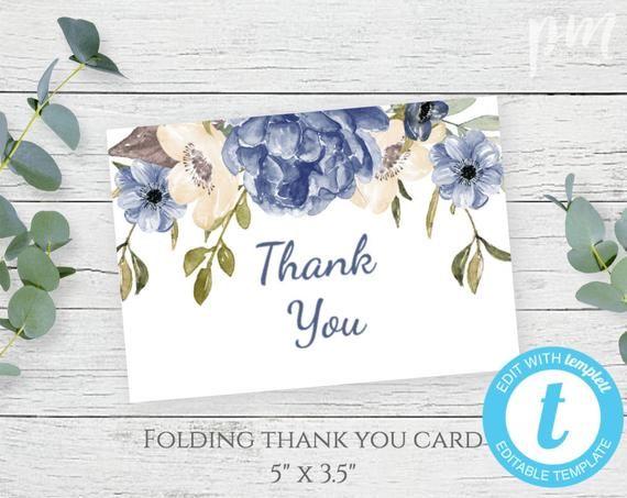 Blue Floral Folding Thank You Card Template Diy Printable Thank