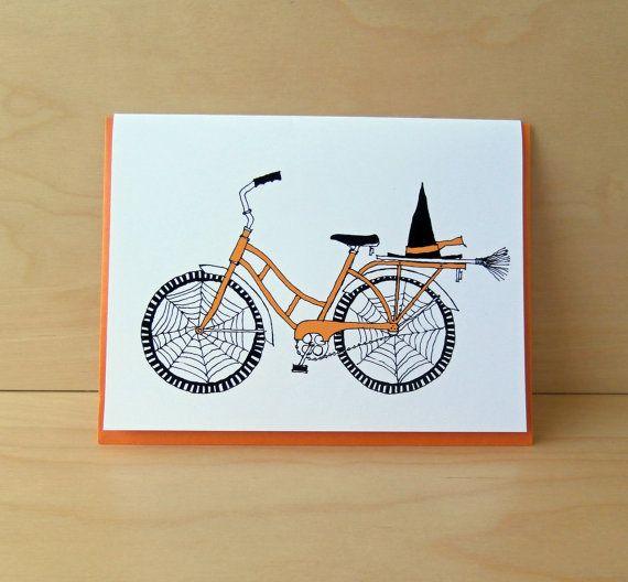 Witch Bike Halloween Greeting Card