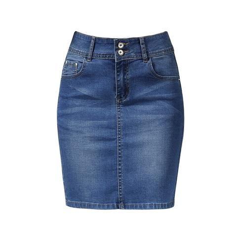 af8b9875a043 2018 Female Skirts Denim Plus Size Short Skirts Womens Bandage Mini Skirt  Pencil Sexy High Waist Jeans Skirt Summer Saia Jupe