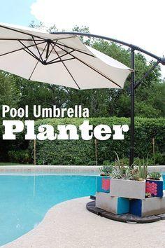 diy pool umbrella weight planter using stencil1 plaidcrafts