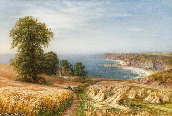 Harvest Time By The Sea - (1) de Edmund George Warren (1834-1909, United Kingdom)