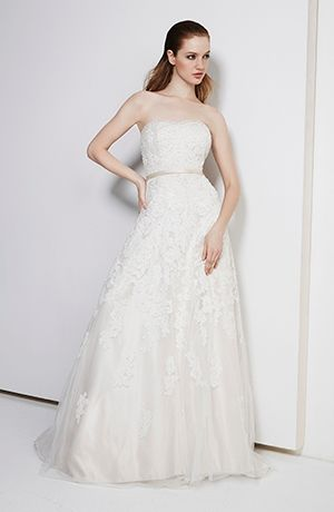Strapless A-Line Wedding Dress  with Natural Waist in Beaded Lace. Bridal Gown Style Number:32781163