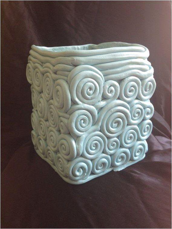 Rectangular Ceramic Coil Vase Light Blue Teal By Myrockstardesign 4500 Click The Image Or Link For More Info Coil Pottery Slab Ceramics Coil Pots