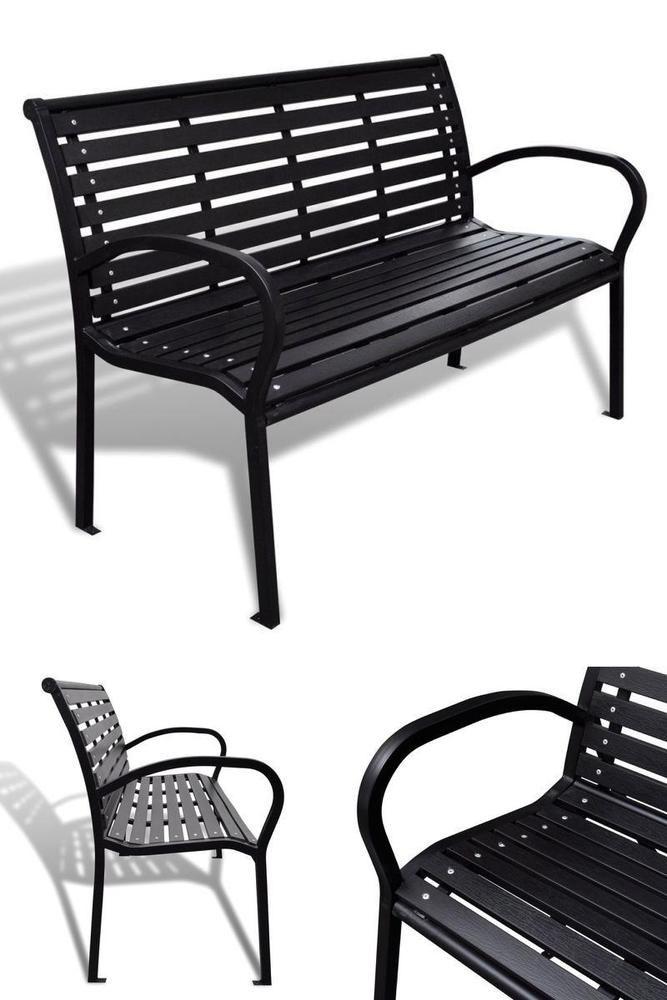 Black Metal Outdoor Bench Garden Patio Seating Furniture