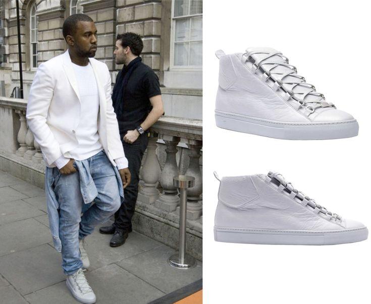 Kanye West wearing Grey Balenciaga Arena Sneakers for London Fashion Week    http://www.creativeboysclub.com/kanye-west-wearing-grey-balenciaga-arena-sneakers-for-london-fashion-week