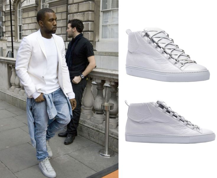 Kanye West wearing Grey Balenciaga Arena Sneakers for London Fashion Week    http://www.creativeboysclub.com/kanye-west-wearing-grey-balenciaga-arena-sneakers-for-london-fashion-week