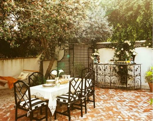 patio   love the lattice work and wrought iron detail to