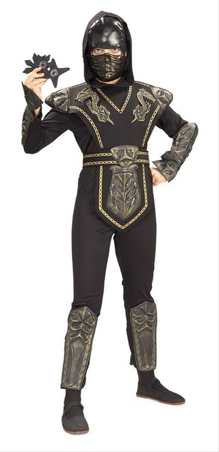Gold Dragon Ninja Boy's Costume - This is a Gold Dragon Warrior Ninja costume. Master the martial arts in this. This three-piece costume comes with a jumpsuit, tabard with belt, and mask. The jumpsuit is a form-fitting bodysuit with moulded foam armour attachments. It has an attached hood and opens up from the back with Velcro. The armour attachments are on the shins and forearms. The armour is painted to look like shiny gold or brass. #ninja #costume #yyc #calgary