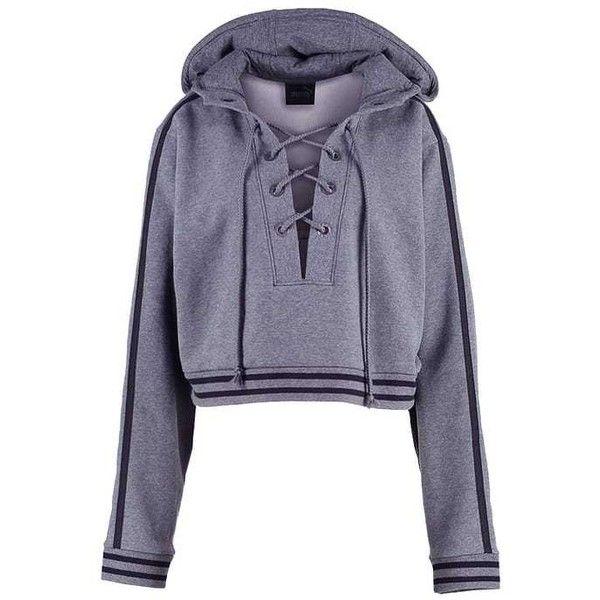 Fenty PUMA by Rihanna Sweatshirt (210 CAD) ❤ liked on Polyvore featuring tops, hoodies, sweatshirts, blue sweatshirt, blue top and puma sweatshirt