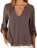 QIYUN.Z Womens Solid Color Chiffon Tops Blouse Ladies Loose Long Sleeve V Neck Button Decor Irregular Hem Shirts Tops