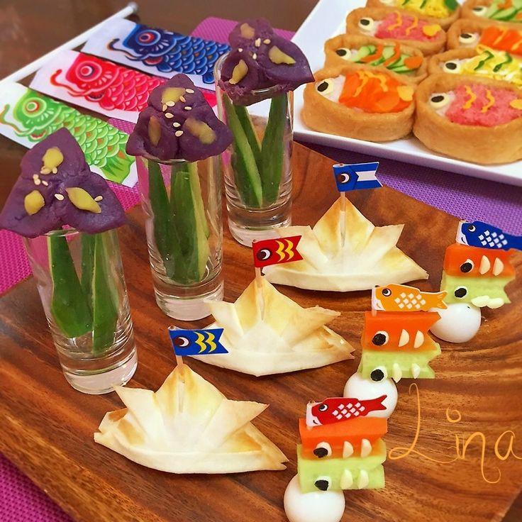端午の節句イメージの前菜プレートを作りたいな〜と思い、菖蒲、カブト、鯉のぼりオードブルを作りました(^-^)/  菖蒲は、紫いものスイートポテト、兜春巻きのフィリングは、かぼちゃサラダ、鯉のぼりピックは、にんじん、きゅうり、うずらの卵。 幼児でも食べやすいお野菜のヘルシー前菜⁈です♡  鯉のぼりピックは、キッチン用品専門の100円ショップ、ナチュラルキッチンで購入。 自作しても⁈  詳細レシピは別投稿です♪